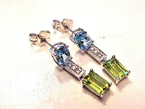 18K 750 White Gold Earrings with Blue Topaz Diamonds & Peridot Stones