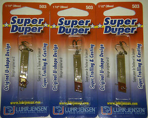 LUHR JENSEN SUPER DUPER TROUT FISHING LURES #1303-503-0130 NICKEL REDHEAD 3 PK