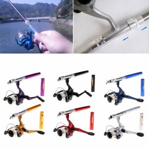 Mini Portable Aluminum Saltwater Baitcasting Fishing Rod Pole Reel Pocket Pen