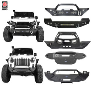 Black Front Bumper Bar w/ LED Spotlights & D-Rings Fit 07-18 Jeep Wrangler JK