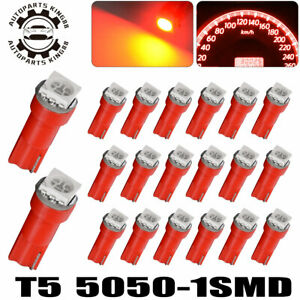 20x Pure Red T5 LED Instrument Panel Dash Gauge Cluster Interior Light Bulbs