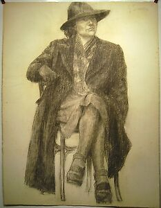 Drawing Charcoal Woman Seat Hat Coat Brush Cutter... 20è Signed G. Simon 63x48