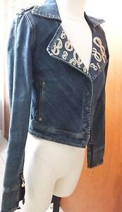 Womens ENYCE Distressed  Blue Denim Bling & Grunge Style Jean Jacket Size M