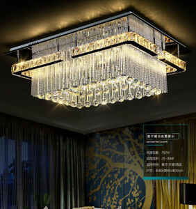 Rectangular LED K9 Crystal Light Living Room Ceiling Fixture Lighting Chandelier