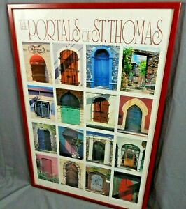 Vintage Litho Print Framed & Matted 37 X 25 Inches THE PORTALS OF ST THOMAS VGC