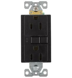 *2 Eaton Black GFCI Self-Test Receptacles with Matching Wallplate SGF15BK-M-L ST