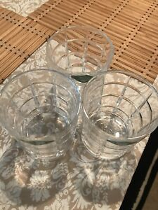 Shannon  Crystal Design On Irland Set of 3 Double Old Fashioned Glasses.