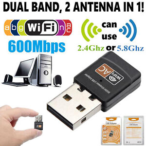 Wireless Lan USB PC WiFi Adapter Network 802.11AC 600Mbps Dual Band 2.4G  5G #M