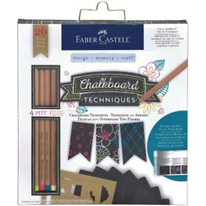 Faber-Castell Chalkboard Techniques Kit - Pastel Pencils Drawing Stencilling