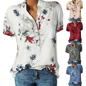 Plus Size Womens Floral Short Sleeve Blouse Ladies Summer Casual Tops T Shirts