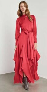 NWT Bcbg Maxazria Draped Ruffle Maxi Dress Long Prom Pink Red $498 Size S Small