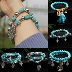 Women Multilayer Shell Turquoise Bangle Beaded Tassel Bracelet Summer Jewelry
