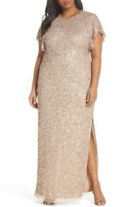 NEW ADRIANNA PAPELL Antique Bronze Pearl Beaded Sequin Flutter Sleeve Gown 22W