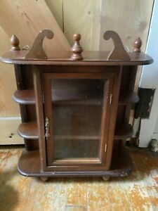 Vtg Farmhouse Wood Table Top Wall Hanging Display Curio Cabinet chest shelf