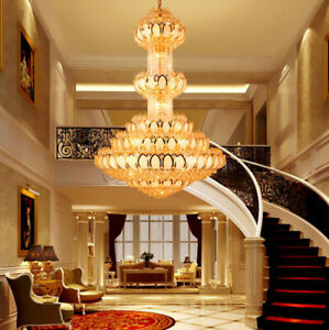 Luxury Duplex Hotel LED Large Chandelier Villa Decorative lighting Crystal Light