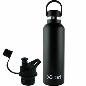 TARI Stainless Steel Bottle Wide Mouth Leakproof Flex Cap Insulated 25 Oz Black $8.95