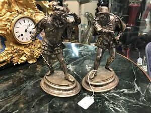 19TH CENTURY PAIR OF FRENCH BRONZE SCULPTURES SILVER GILT BY EMILLE GUILLEMIN $1995.00