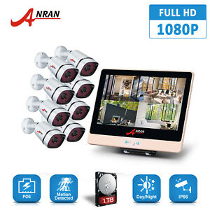 ANRAN 8CH 1080P PoE Security Camera System HD 12