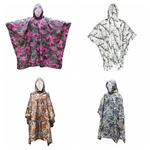 Unisex Military Jungle Camo Raincoat Poncho for Outdoor Camping Hiking Hunting