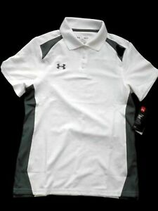 Under Armour women's white & gray Color block short sleeve Golf Shirt SMALL