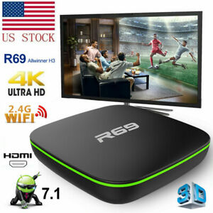 R69 Smart Android 7.1 4K UHD TV Box H3 Quad Core 2.4GHz WiFi Home Media Player