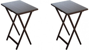 TV Tray Table Dinner or Laptop Work Stand 2-Pack Set in Walnut