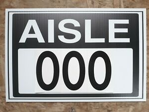 10 Aisle Marker Row Warehouse Sign Black White 12