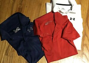 Under Armour Boys Loose Fit Short Sleeve Golf Polo Shirt Large YL Lot Blue 3