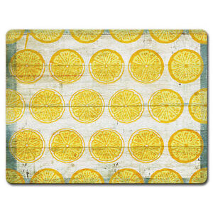 Tempered Glass Cutting Cheese Board 8x10 OLD FASHIONED LEMONADE Lemons Slices