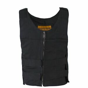 Mens Black Canvas Motorcycle Bullet Vest with Front Zipper Closure $49.00