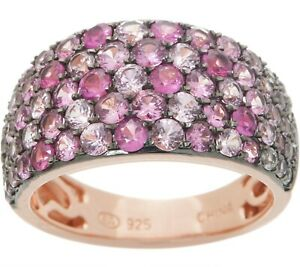 ROSE PLATED STERLING SILVER 2.75CT PAVE SAPPHIRE BAND RING SIZE 9 QVC $450