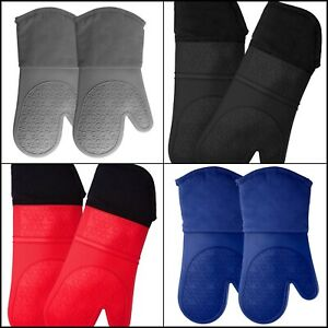 Silicone Oven Mitts Quilted Cotton Lining - Professional Heat Resistant Kitchen
