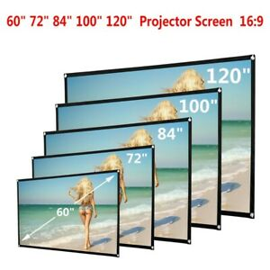72-120 inch HD Projector Screen 16:9 Home Cinema Theater Projection Screen New