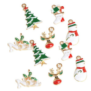 10pcs Chic Christmas Mixed Enamel Pendant DIY Craft for Jewelry Making