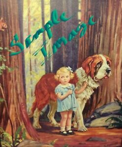 Girl amp; St. Bernard in woods picture print vintage prints $10.00