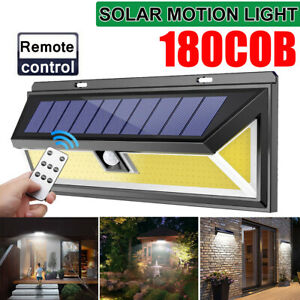 180 COB LED 1200LM Remote control Solar Wall Lamp Outdoor Light Motion Sensor