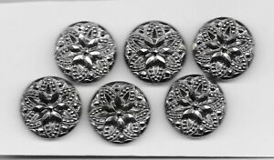 6 MATCHING CHUNKY BLACK GLASS buttons SILVER LUSTER COVERED ORNATE design--1