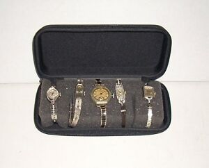 Vintage watch lot Bulova Diamonds Platinum White Gold Filled Rolled .925 silver