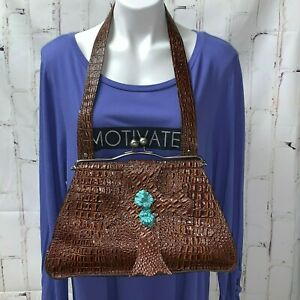 Arohoe Brown Embossed Leather Purse Shoulder Bag Kisslock Cross Turquoise Stones
