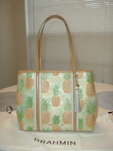 New With Tags Brahmin Multi Color Leather Julian Pineapple Theme Shoulder Bag