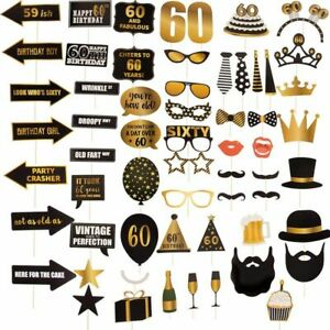 60-Pack 60th Birthday Party Photo Booth Selfie Props Cake Decoration for Him Her