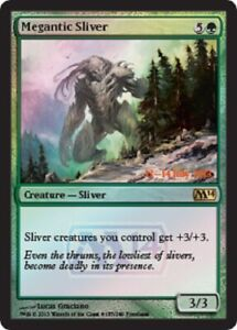MTG Magic the Gathering Megantic Sliver M14 Pre-Release Rare Promo FOIL NM