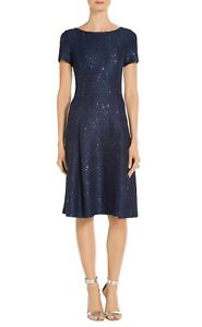 St John Sparkle Sequin Bateau-Neck Pleated Cocktail Dress in Navy Size 4 NEW