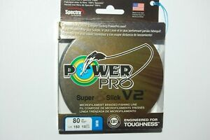 power pro braided fishing line super 8 slick V2 80lb 150yd spool blue
