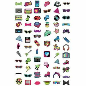 Juvale 80s Theme Photo Booth Props for Party Celebration Anniversary (60 Pack)