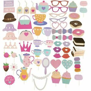 60-Pack Tea Party Photo Booth Props for Birthday Party Kids Parties Party Favors