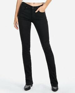 Express Jeans SkyScraper Mid Rise Straight Baby Flare Leg Black Size 6 C7