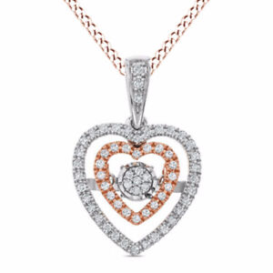 Dancing 14ct Natural Diamond Double Heart Frame Pendant in 10K Two-Tone Gold