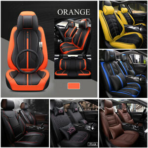 5 Seats Luxury Car Seat Covers PU Leather Protector+Cushions+ Headrests Pillow