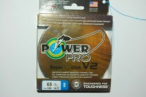 power pro braided fishing line super 8 slick V2 65lb 150yd spool blue